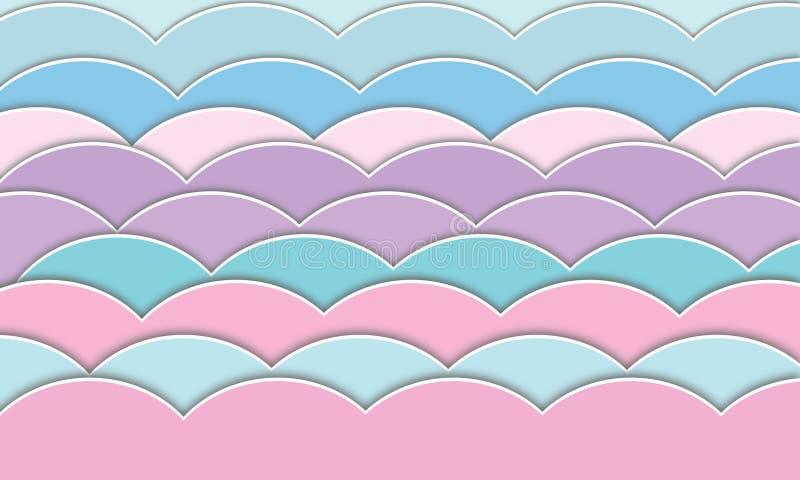 Abstraiga el corte del papel estilo del pastel del fondo de la onda del modelo libre illustration