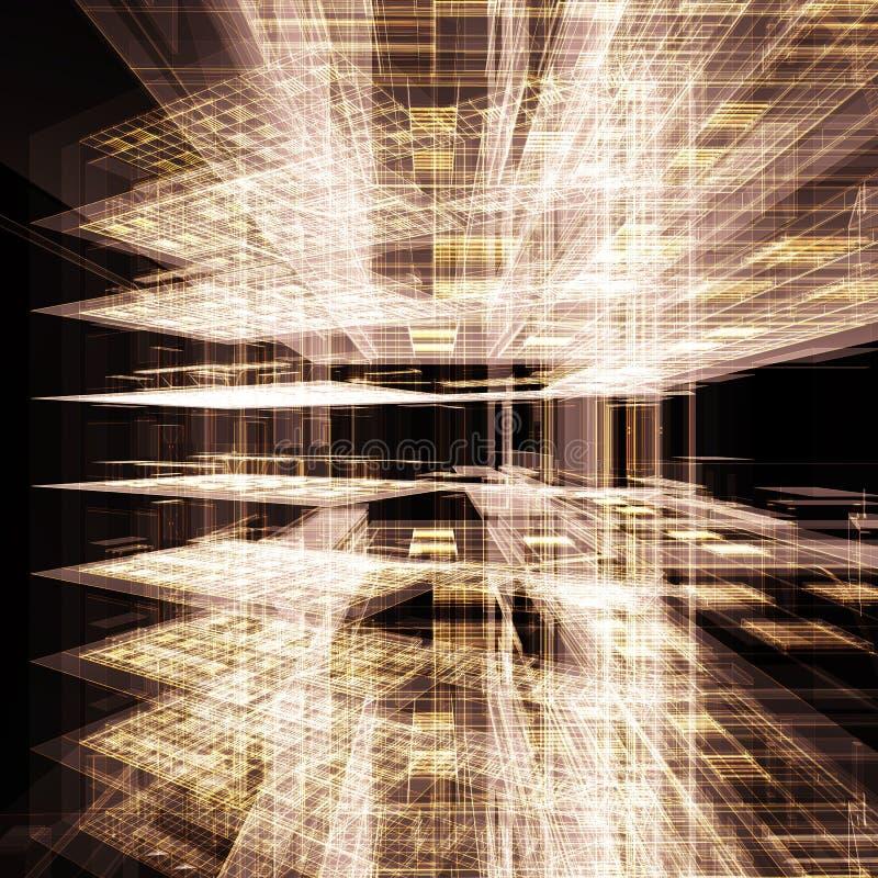 Abstraiga el edificio de oficinas del oro ilustración del vector