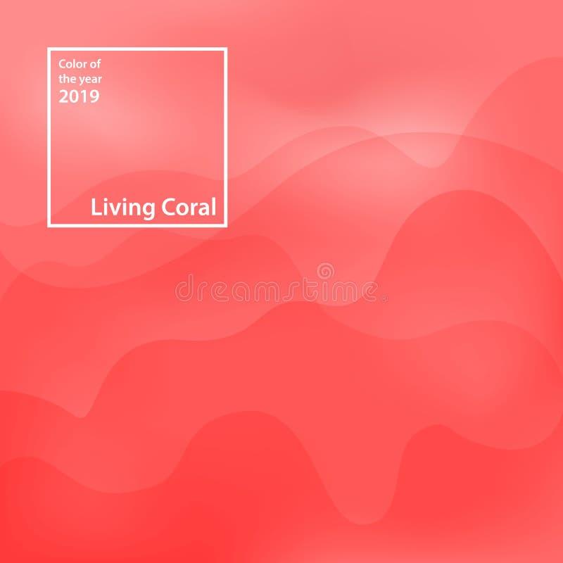 abstraiga el fondo Color del año 2019, coral vivo Color de moda del pantone de moda de la estación del primavera-verano 2019 libre illustration