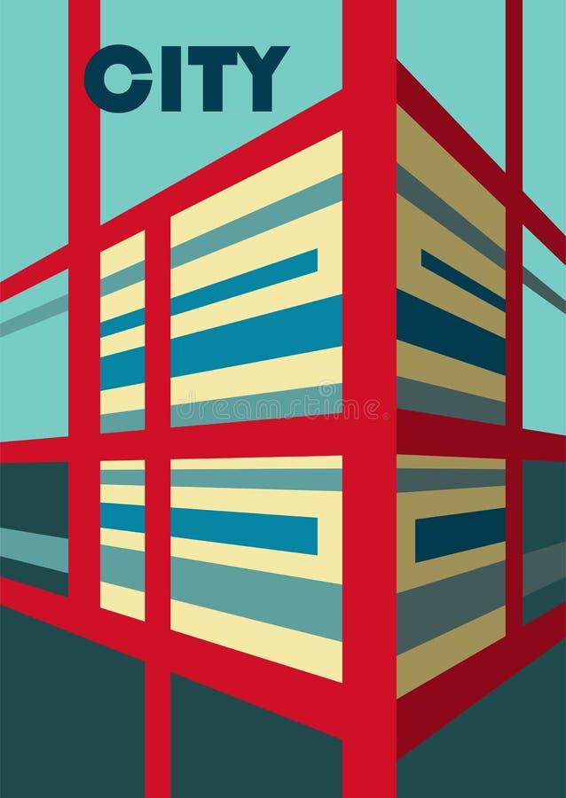 abstraiga el fondo Ejemplo del edificio en la opinión de perspectiva ilustración del vector