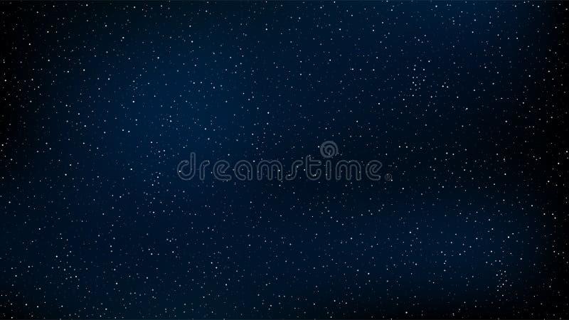 abstraiga el fondo El cielo estrellado hermoso es azul El resplandor de las estrellas en oscuridad completa Una galaxia imponente ilustración del vector