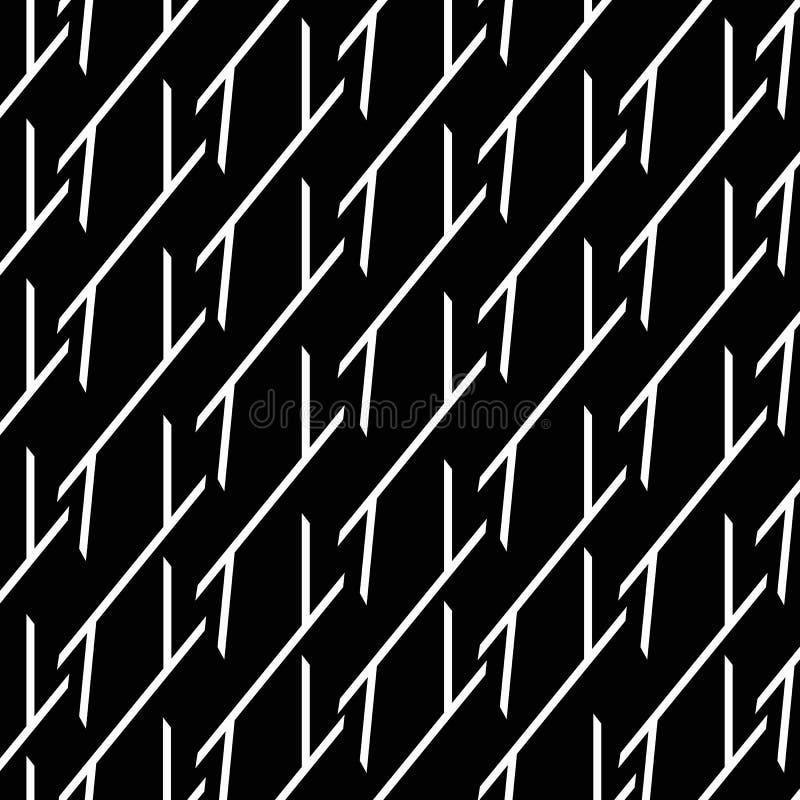 abstraiga el fondo Líneas quebradas blancas en un fondo negro stock de ilustración