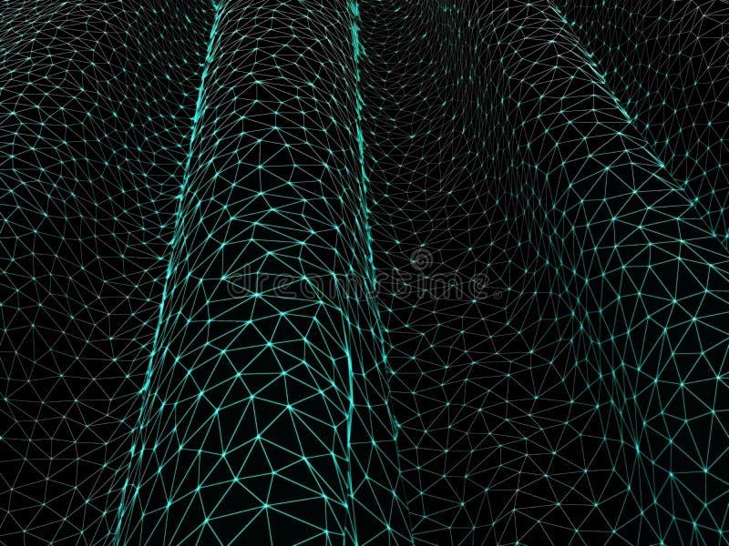 abstraiga el fondo La rejilla verde del ciberespacio Red de alta tecnología, materia del espacio Espacio y tiempo stock de ilustración