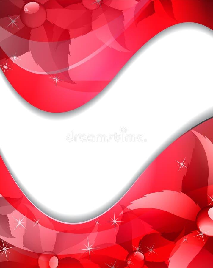 Abstraiga el fondo rojo con las flores transparentes ilustración del vector