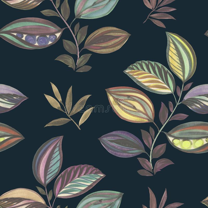 Abstraiga el ornamento Ilustraci?n colorida Dibujo de la acuarela de las hojas de diversos colores Hojas y ramas para el dise?o ilustración del vector