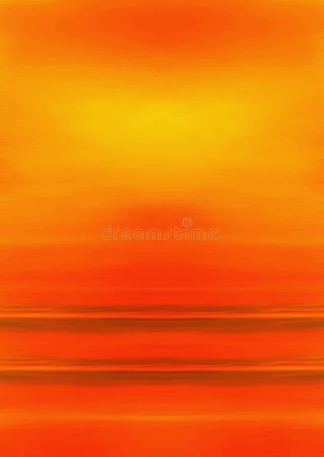 Abstraiga el paisaje/Sun pintado, el cielo y el océano ilustración del vector
