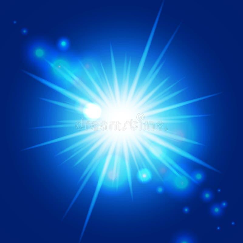 Abstraiga el resplandor solar azul ilustración del vector