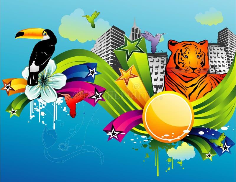 Abstraiga el vector de los animales stock de ilustración