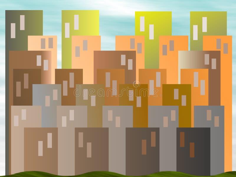 Abstraiga la ilustración del paisaje urbano stock de ilustración