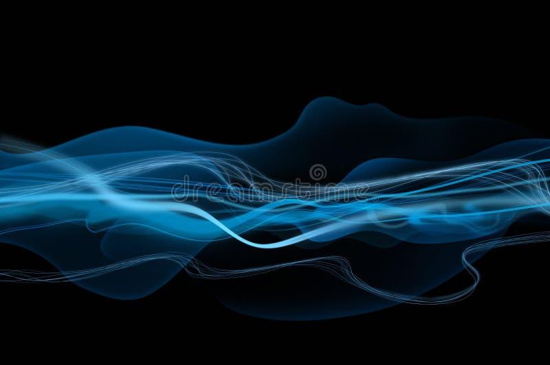 Abstraiga las ondas negras y azules, fondo del humo stock de ilustración