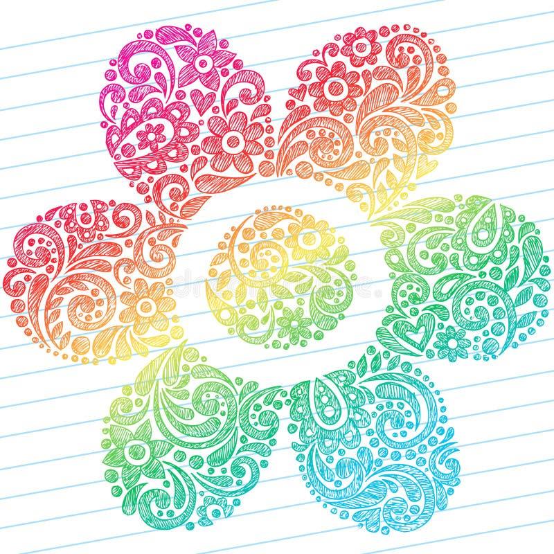 Abstraiga los Doodles incompletos del cuaderno de la flor stock de ilustración