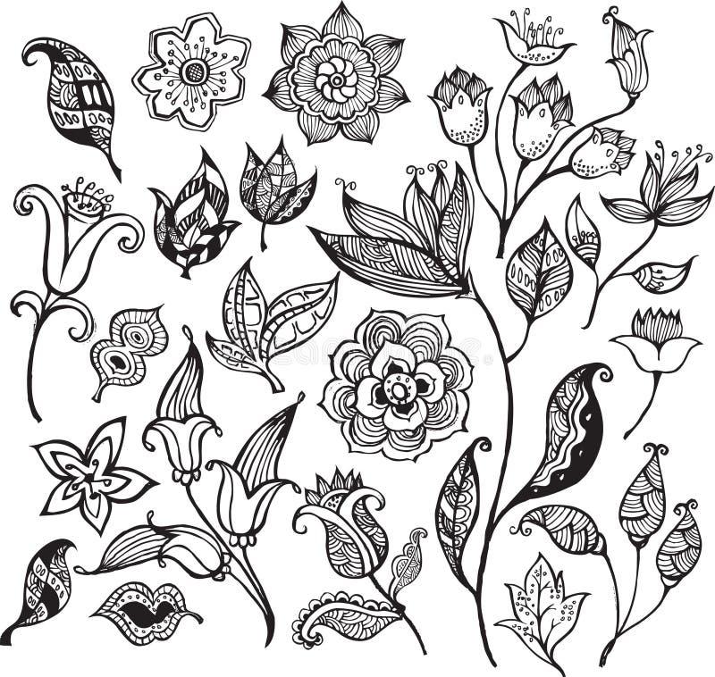 Abstraiga los elementos 2 del diseño floral ilustración del vector