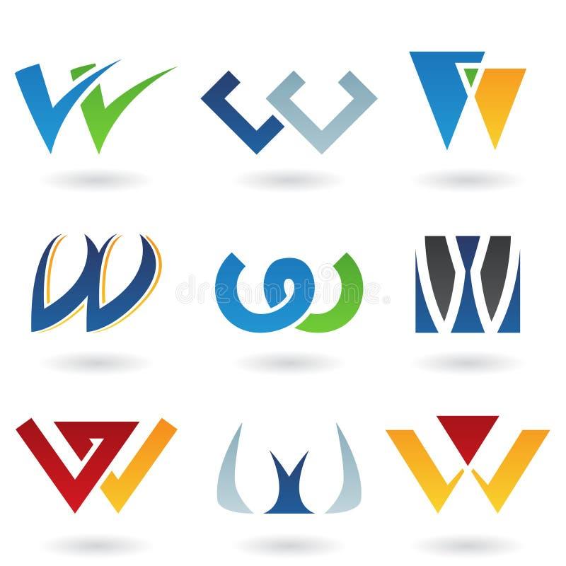 Abstraiga los iconos para la letra W stock de ilustración