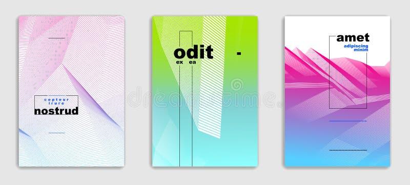 Abstrait conceptions contemporaines minimales de brochure de vecteur de sch?ma a plac?, des calibres de couverture, gradient tram illustration stock