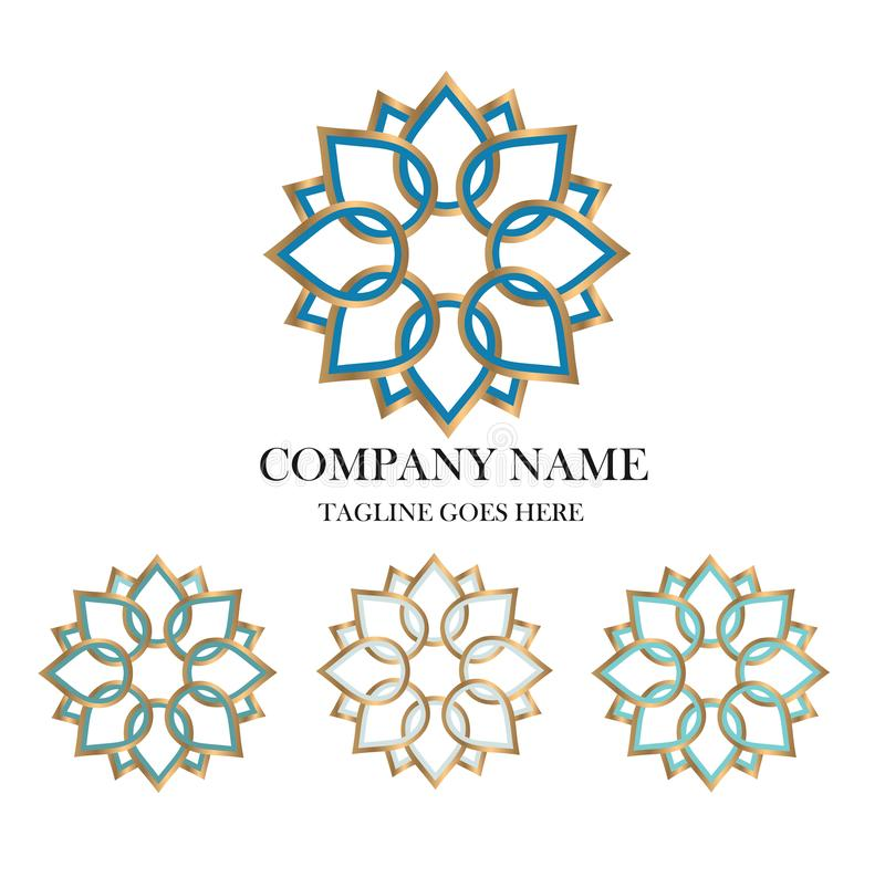 Or abstrait de Logo Geometric Vector Emblem Design de fleur photographie stock