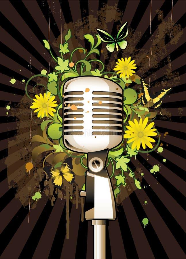 Abstrait floral avec le microphone illustration stock