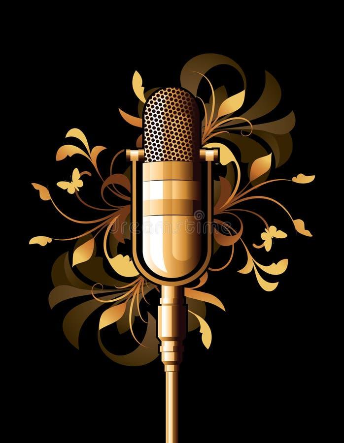 Abstrait floral avec le microphone illustration libre de droits