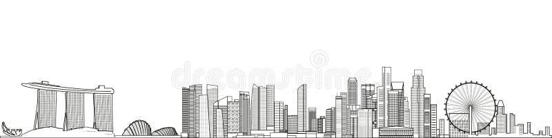 Abstrait illustration détaillée paysage urbain de Singapour de vecteur de style de schéma fond plus de ma course de portefeuille illustration stock