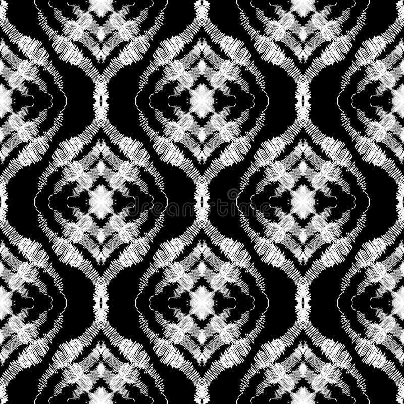 Abstrait texturis? mod?le sans couture grunge de sch?ma Fond sale noir et blanc de vecteur Le griffonnage de style de broderie a  illustration libre de droits