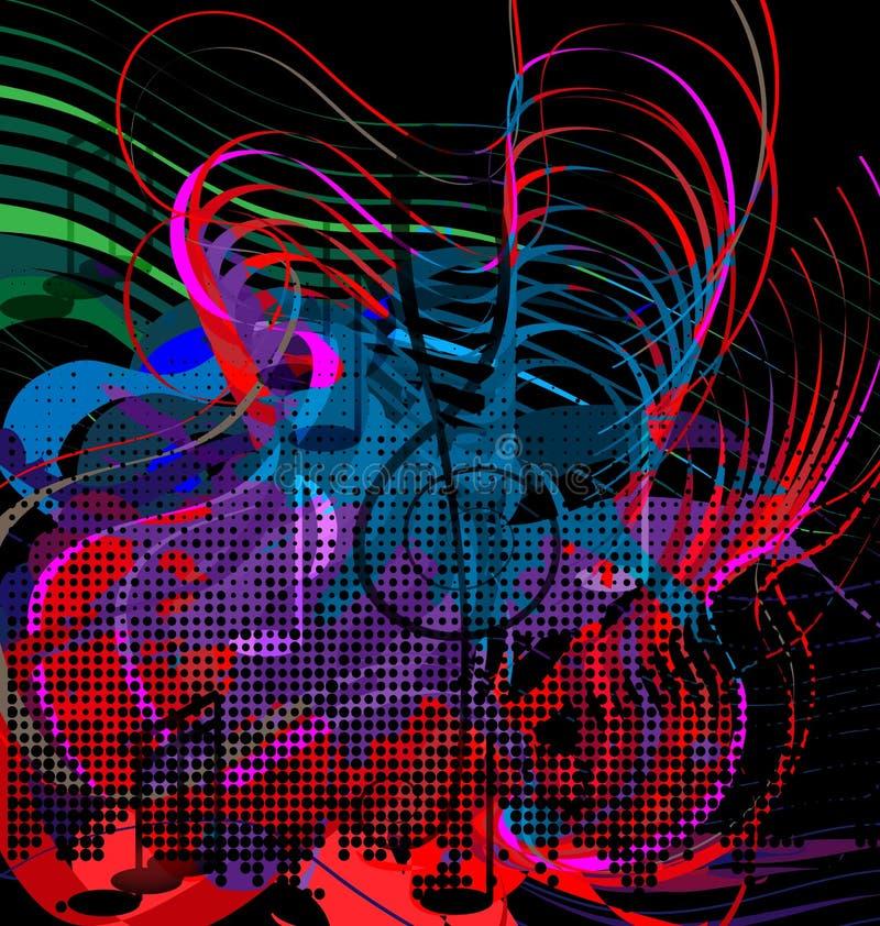 Abstrakci czerwieni, błękitnej i zielonej muzyka, ilustracja wektor