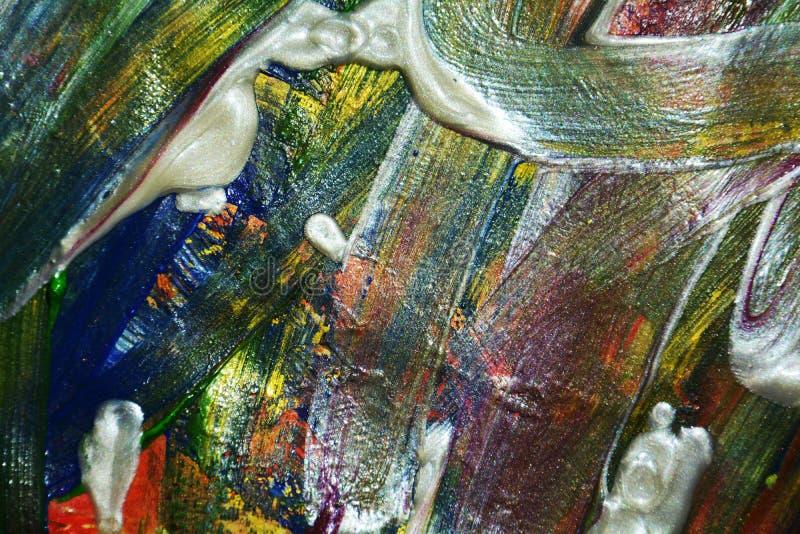 Abstrakcja białego błękita srebra farby muśnięcia pomarańczowi uderzenia Akwareli farby abstrakta tło fotografia stock