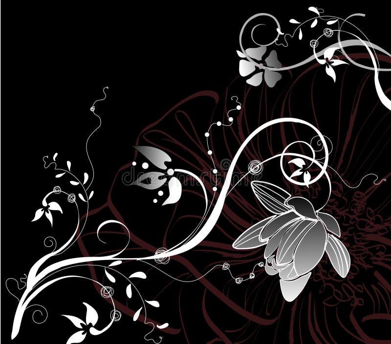 abstrakcja biel czarny kwiecisty ilustracji