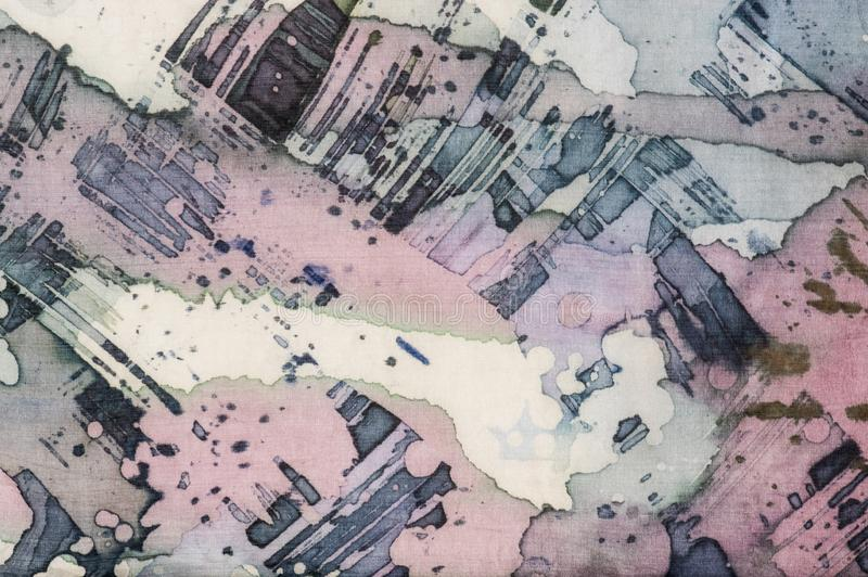 Abstrakcja, czerep, gorący batik, tło tekstura, handmade na jedwabiu ilustracja wektor