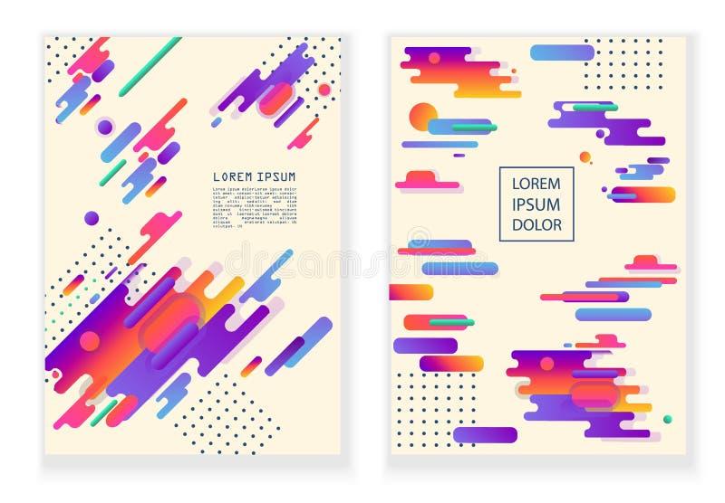 Abstrakcja nowożytny styl od różnorodnych zaokrąglonych postaci Faktyczna kolor paleta Dla drukowego druku, sztandary lub projekt ilustracja wektor