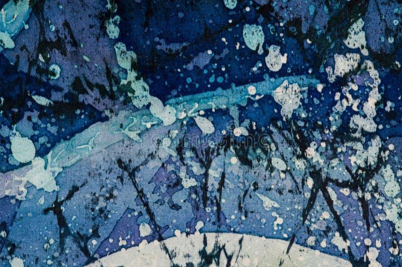 Abstrakcja, turkus i fiołek, gorący batik, tło tekstura, handmade na jedwabiu ilustracja wektor
