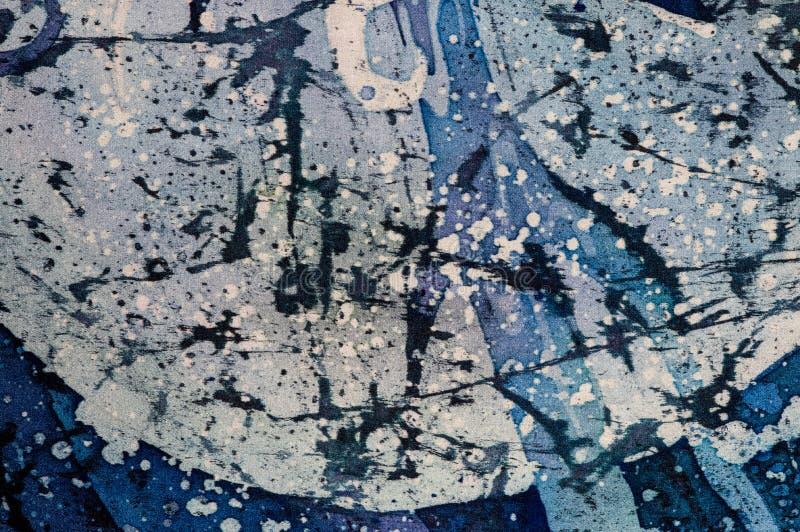 Abstrakcja, turkus i fiołek, gorący batik, tło tekstura, handmade na jedwabiu ilustracji