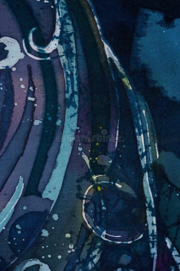 Abstrakcja, turkus i fiołek, gorący batik, tło tekstura, handmade na jedwabiu royalty ilustracja