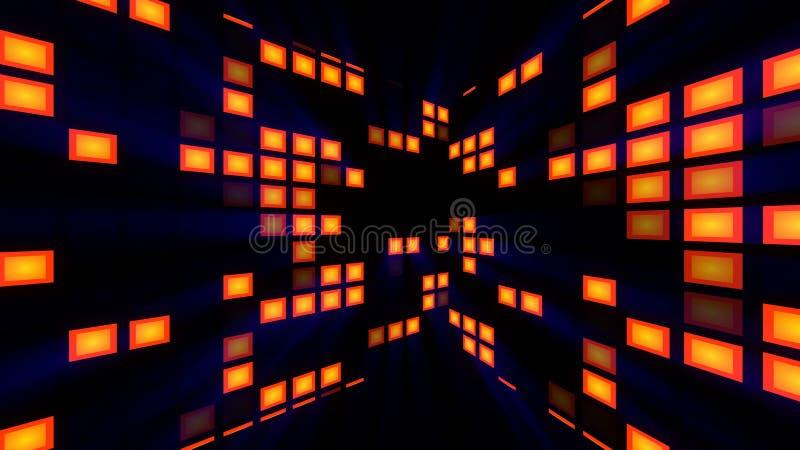 Abstrakcja z jaskrawym nowożytnym dyskoteka pokojem 3d renderingu komputer wytwarzający tło ilustracja wektor