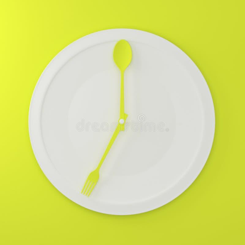Abstrakcjonistyczna łyżka i rozwidlenie na białym round talerzu w postaci zegaru ilustracja wektor