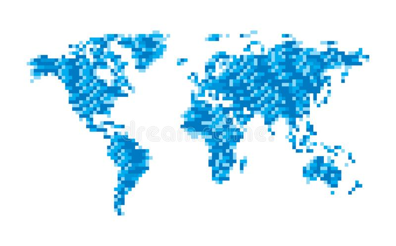 Abstrakcjonistyczna światowa mapa geometryczna struktura w błękitnym kolorze dla prezentaci, broszura, strona internetowa i inny, ilustracja wektor