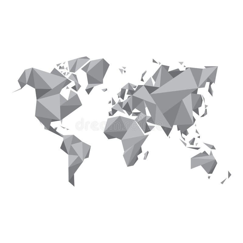 Abstrakcjonistyczna Światowa mapa Geometryczna struktura w szarość barwi dla prezentaci, broszury, strony internetowej i inny, pr ilustracji