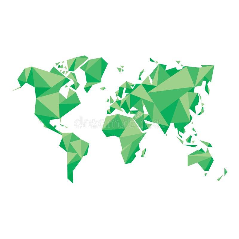 Abstrakcjonistyczna Światowa mapa Geometryczna struktura w zielonym kolorze dla prezentaci, broszura, strona internetowa i inny,  royalty ilustracja