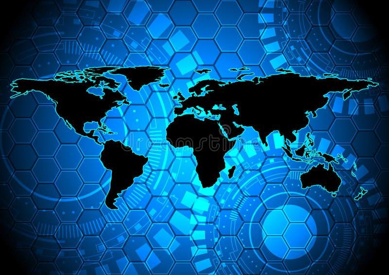 Abstrakcjonistyczna światowa mapa na technologii cyfrowej tle niektóre elementy ten wizerunek meblujący NASA royalty ilustracja
