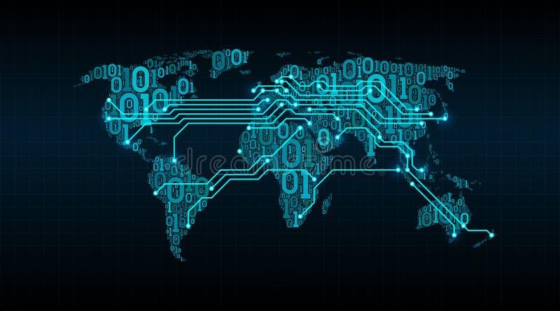 Abstrakcjonistyczna światowa mapa od cyfrowego binarnego kodu na siatki tle, związek między miastami w postaci drukowanego obwodu ilustracji