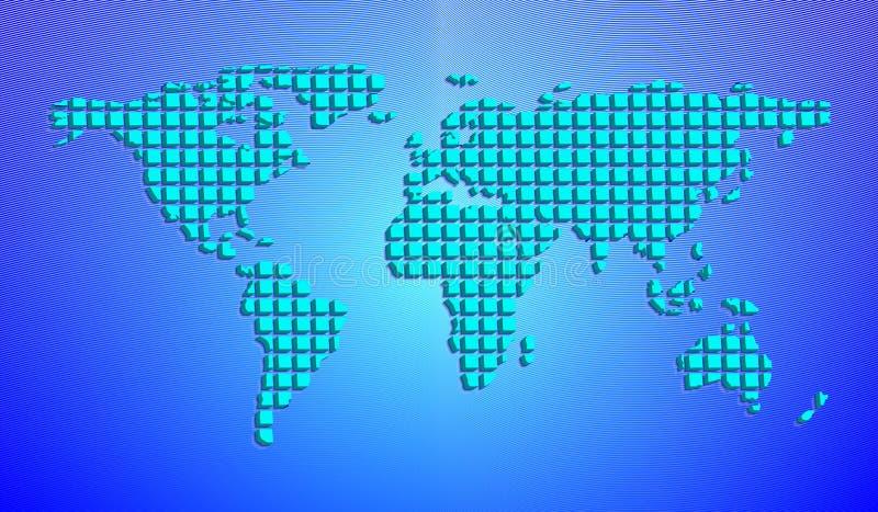 Abstrakcjonistyczna światowa mapa od 3D kwadratów również zwrócić corel ilustracji wektora royalty ilustracja