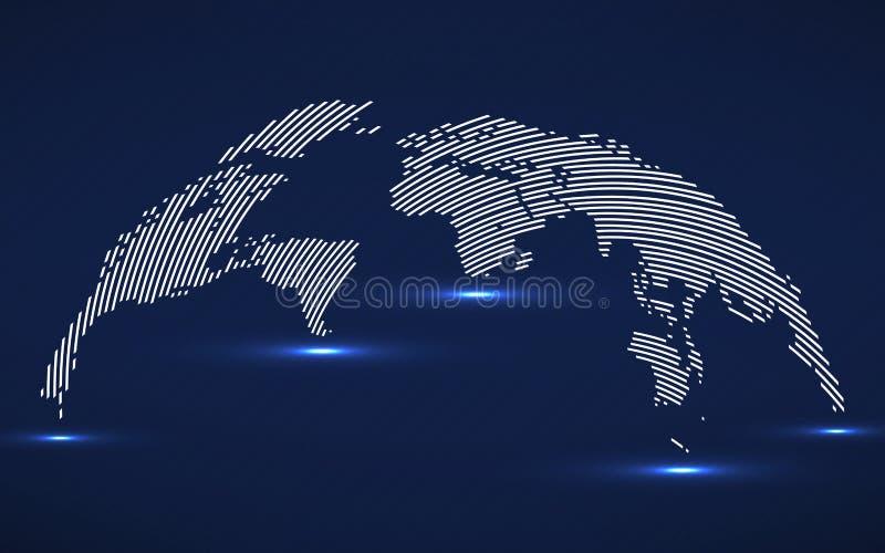 Abstrakcjonistyczna Światowa mapa z liniami Światowa lampas mapa, technologia styl ilustracja wektor