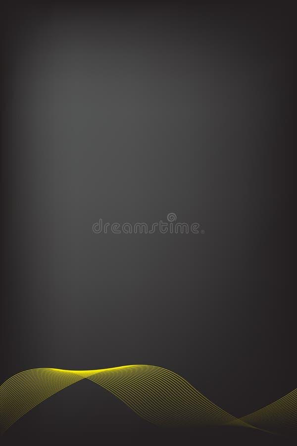 Abstrakcjonistyczna żółta linia z czarnym plamy tłem Broszurka projekt, strona tytu?owa szablonu wektorowej grafiki ilustracja royalty ilustracja