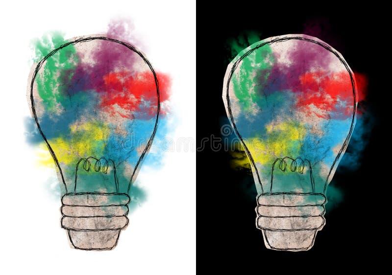 Abstrakcjonistyczna żarówka, pomysły, cele, sukces ilustracji