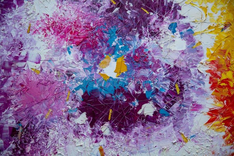 Abstrakcjonistyczna akrylowa ręka malował tło w wnętrzu fotografia stock
