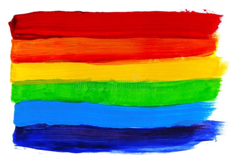 Abstrakcjonistyczna akrylowa ręka malujący tło Akwareli tęczy flaga Symbol lgbt, pokój i duma, royalty ilustracja