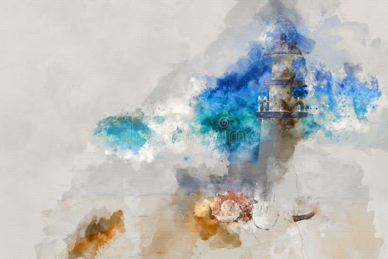 abstrakcjonistyczna akwarela stylu ilustracja nautyczny pojęcie z seashells i latarnią morską fotografia stock