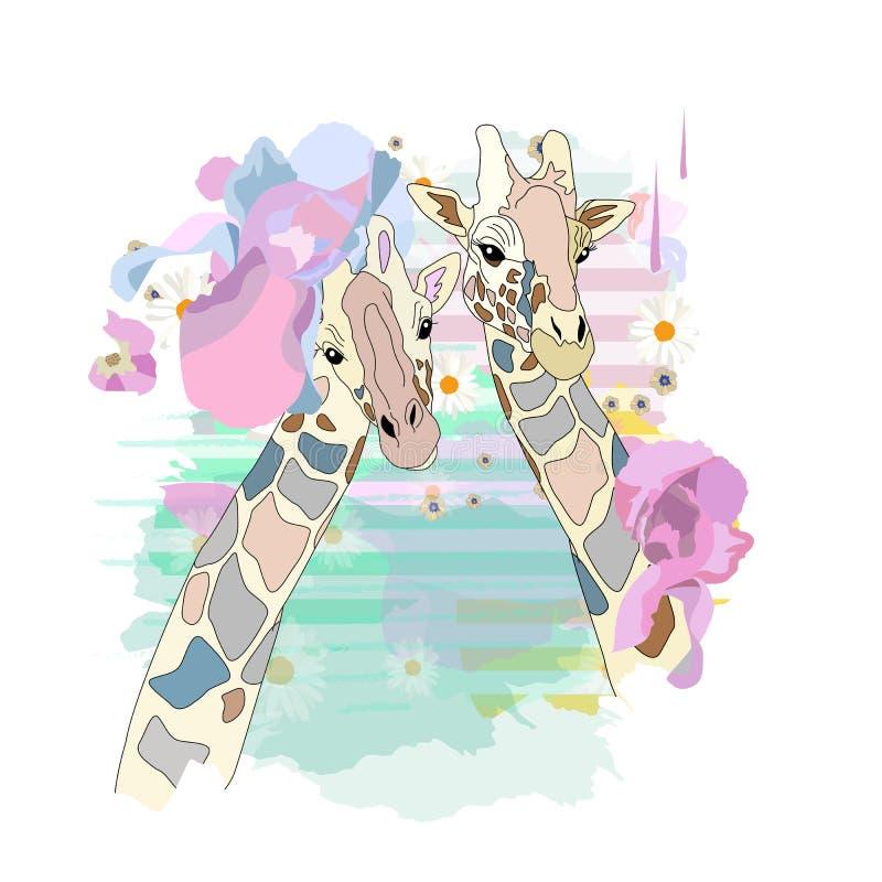 Abstrakcjonistyczna akwareli ilustracja dwa dziewczyn chłodno żyrafa ilustracja wektor