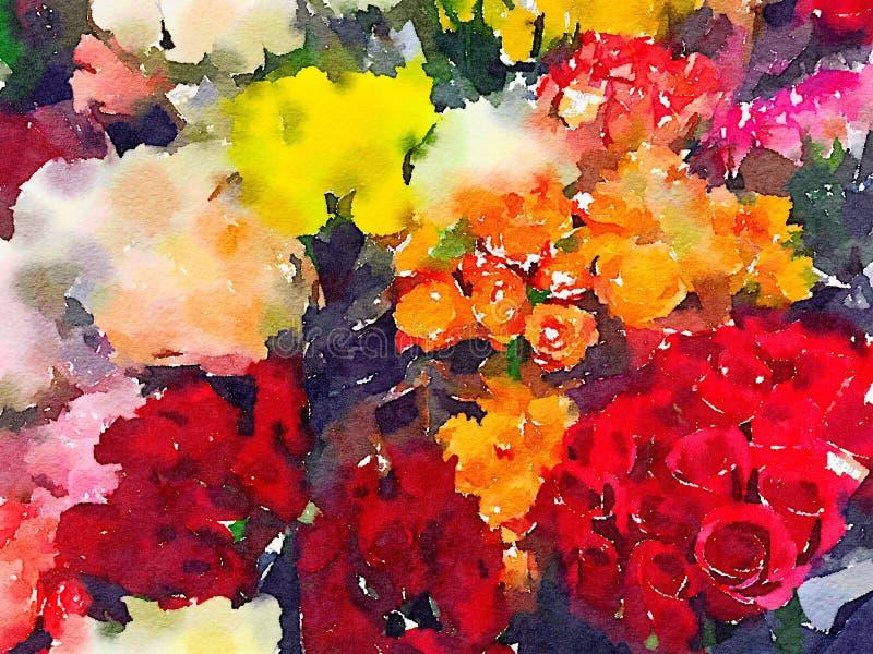 Abstrakcjonistyczna akwareli ilustracja kwiatów bukiety ilustracja wektor