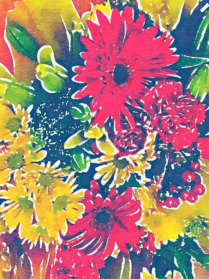 Abstrakcjonistyczna akwareli ilustracja kwiatów bukiety royalty ilustracja