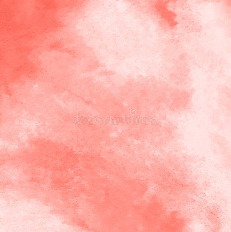 Abstrakcjonistyczna akwareli pełnia z plamami w Żywym Koralowym colorfor tle ilustracji