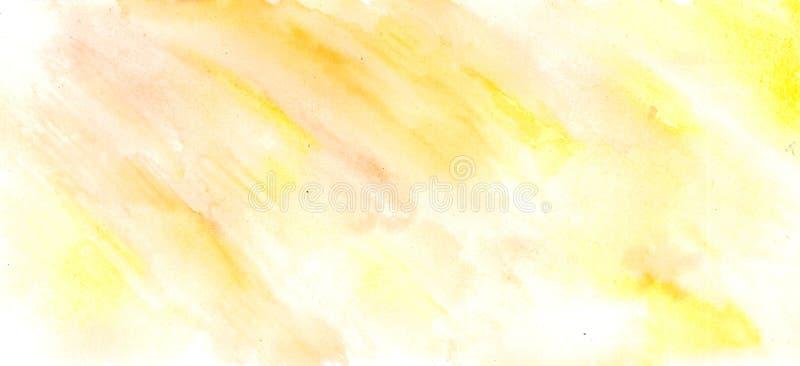 Abstrakcjonistyczna akwareli ręka malował żółtego i białego tło, ilustracji